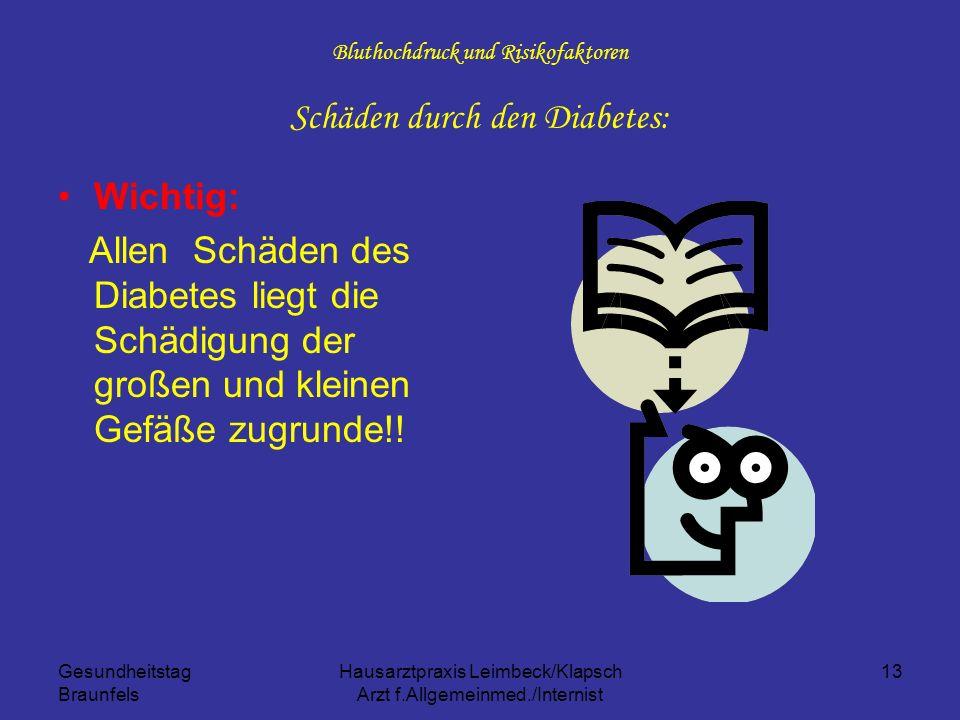 Gesundheitstag Braunfels Hausarztpraxis Leimbeck/Klapsch Arzt f.Allgemeinmed./Internist 13 Bluthochdruck und Risikofaktoren Schäden durch den Diabetes