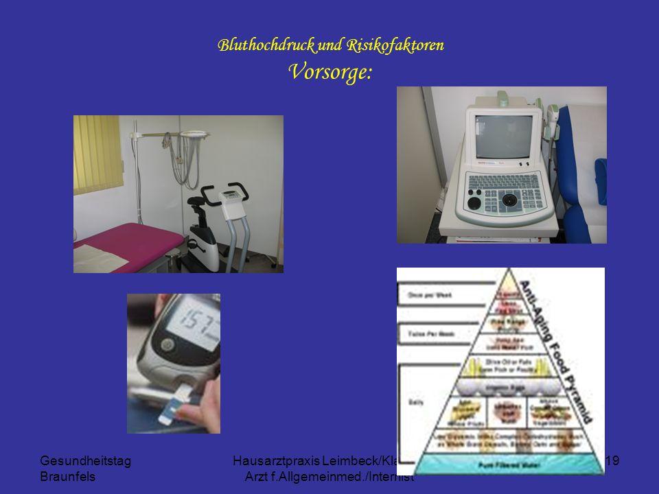 Gesundheitstag Braunfels Hausarztpraxis Leimbeck/Klapsch Arzt f.Allgemeinmed./Internist 19 Bluthochdruck und Risikofaktoren Vorsorge: