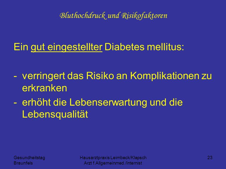 Gesundheitstag Braunfels Hausarztpraxis Leimbeck/Klapsch Arzt f.Allgemeinmed./Internist 23 Bluthochdruck und Risikofaktoren Ein gut eingestellter Diab