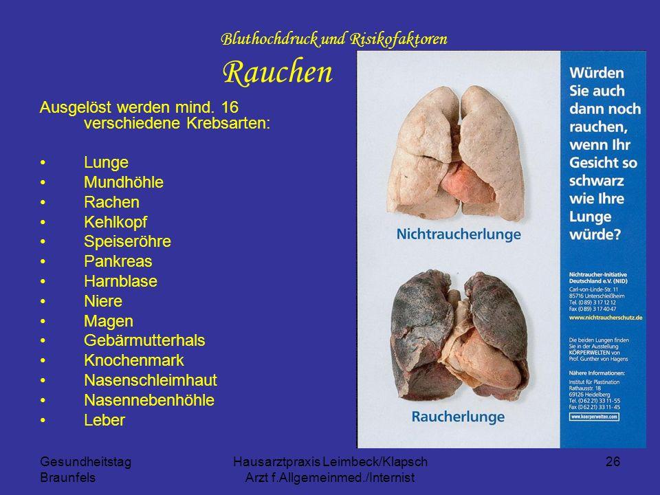 Gesundheitstag Braunfels Hausarztpraxis Leimbeck/Klapsch Arzt f.Allgemeinmed./Internist 26 Bluthochdruck und Risikofaktoren Rauchen Ausgelöst werden m