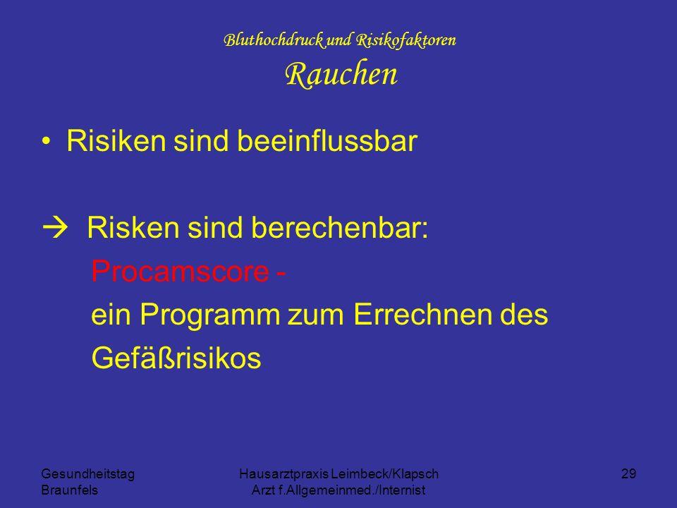 Gesundheitstag Braunfels Hausarztpraxis Leimbeck/Klapsch Arzt f.Allgemeinmed./Internist 29 Bluthochdruck und Risikofaktoren Rauchen Risiken sind beein