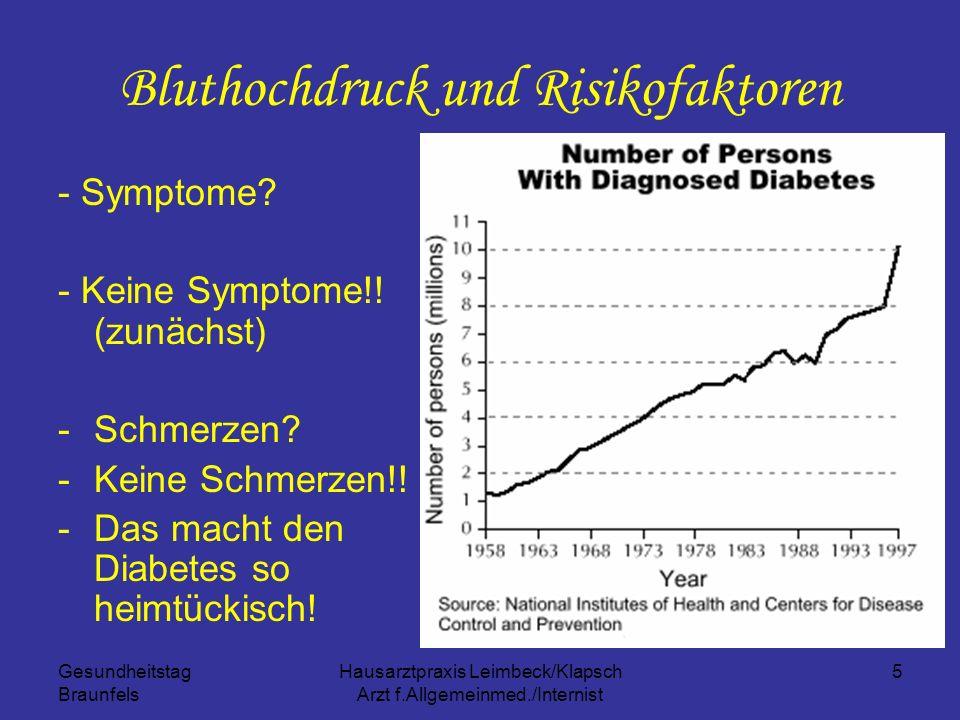 Gesundheitstag Braunfels Hausarztpraxis Leimbeck/Klapsch Arzt f.Allgemeinmed./Internist 5 Bluthochdruck und Risikofaktoren - Symptome? - Keine Symptom