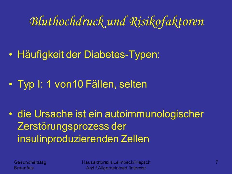 Gesundheitstag Braunfels Hausarztpraxis Leimbeck/Klapsch Arzt f.Allgemeinmed./Internist 7 Bluthochdruck und Risikofaktoren Häufigkeit der Diabetes-Typ