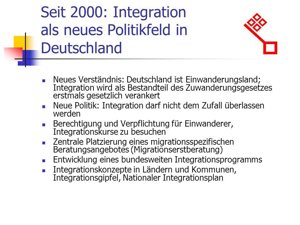 Seit 2000: Integration als neues Politikfeld in Deutschland Neues Verständnis: Deutschland ist Einwanderungsland; Integration wird als Bestandteil des Zuwanderungsgesetzes erstmals gesetzlich verankert Neue Politik: Integration darf nicht dem Zufall überlassen werden Berechtigung und Verpflichtung für Einwanderer, Integrationskurse zu besuchen Zentrale Platzierung eines migrationsspezifischen Beratungsangebotes (Migrationserstberatung) Entwicklung eines bundesweiten Integrationsprogramms Integrationskonzepte in Ländern und Kommunen, Integrationsgipfel, Nationaler Integrationsplan