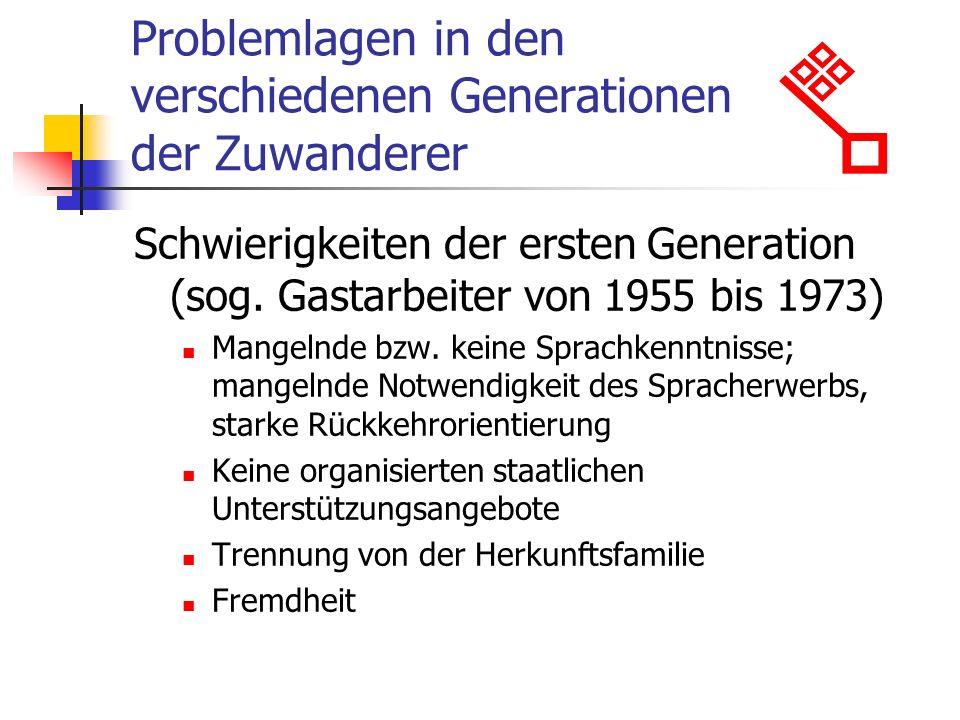 Problemlagen in den verschiedenen Generationen der Zuwanderer Schwierigkeiten der ersten Generation (sog.
