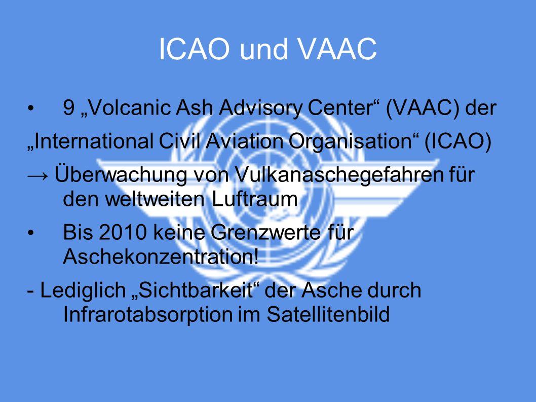 ICAO und VAAC 9 Volcanic Ash Advisory Center (VAAC) der International Civil Aviation Organisation (ICAO) Überwachung von Vulkanaschegefahren für den w