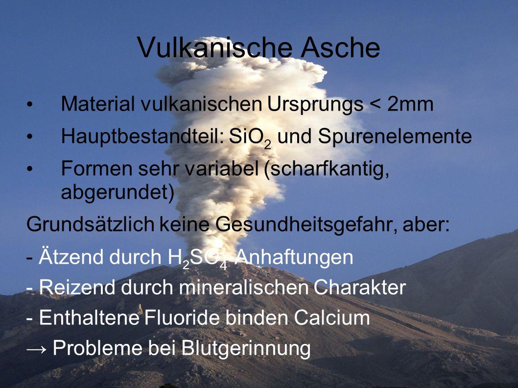 Vulkanische Asche Material vulkanischen Ursprungs < 2mm Hauptbestandteil: SiO 2 und Spurenelemente Formen sehr variabel (scharfkantig, abgerundet) Gru
