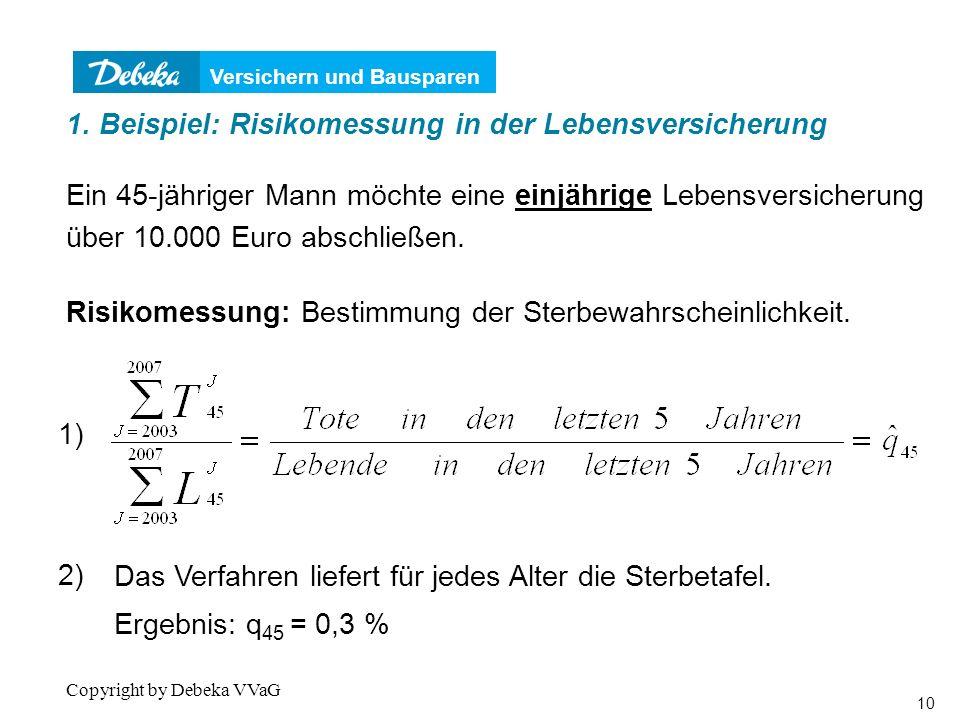 Versichern und Bausparen 10 Copyright by Debeka VVaG Ein 45-jähriger Mann möchte eine einjährige Lebensversicherung über 10.000 Euro abschließen.