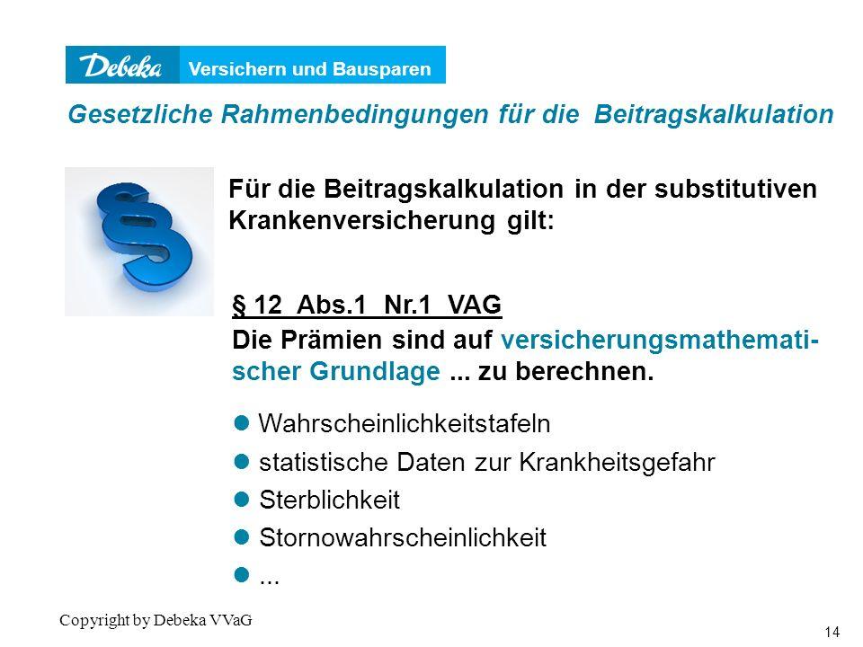 Versichern und Bausparen 14 Copyright by Debeka VVaG § 12 Abs.1 Nr.1 VAG Die Prämien sind auf versicherungsmathemati- scher Grundlage...