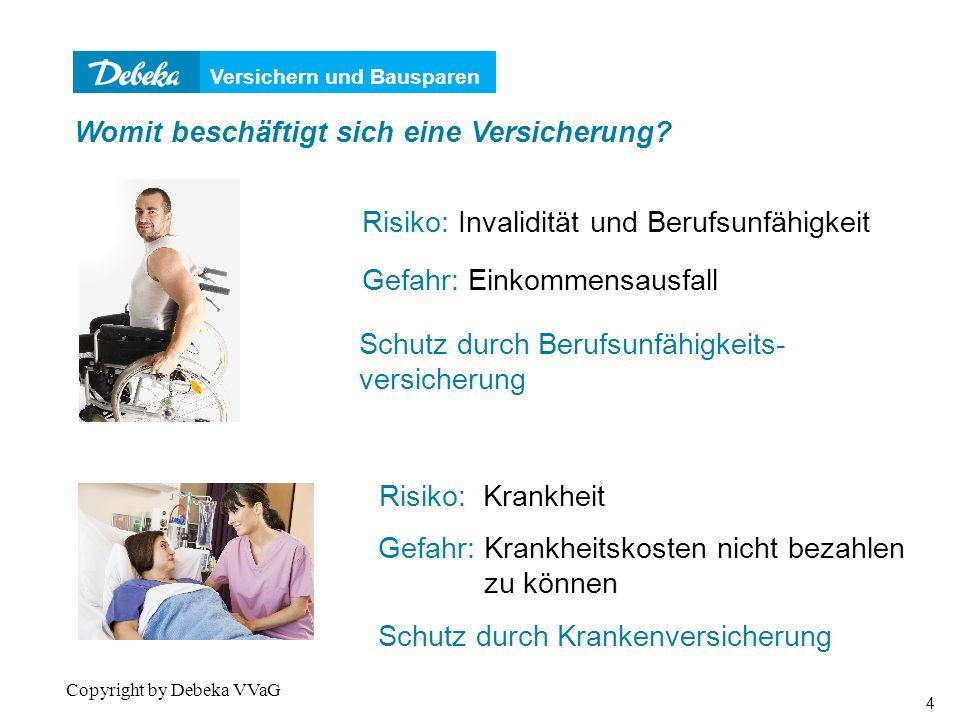 Versichern und Bausparen 4 Copyright by Debeka VVaG Gefahr: Einkommensausfall Schutz durch Berufsunfähigkeits- versicherung Womit beschäftigt sich eine Versicherung.