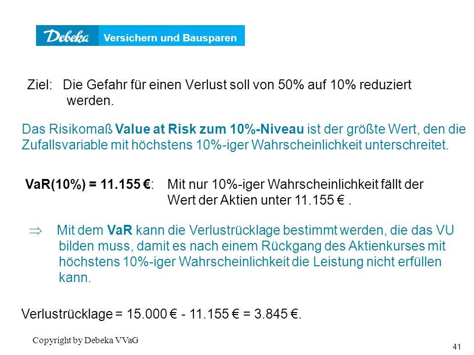 Versichern und Bausparen 41 Copyright by Debeka VVaG Ziel: Die Gefahr für einen Verlust soll von 50% auf 10% reduziert werden.