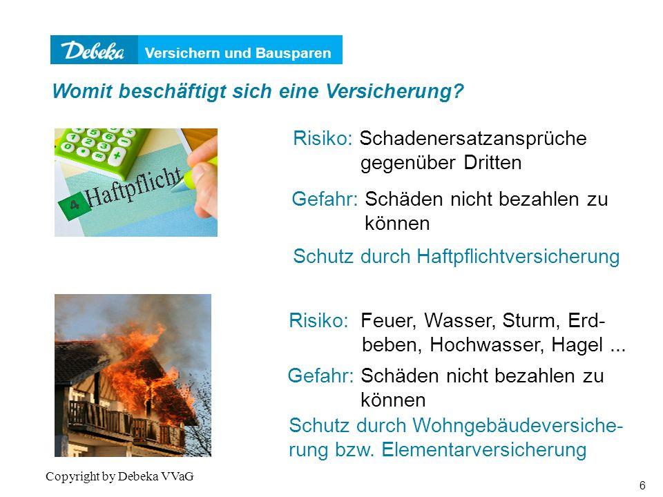 Versichern und Bausparen 7 Copyright by Debeka VVaG Womit beschäftigt sich eine Versicherung.