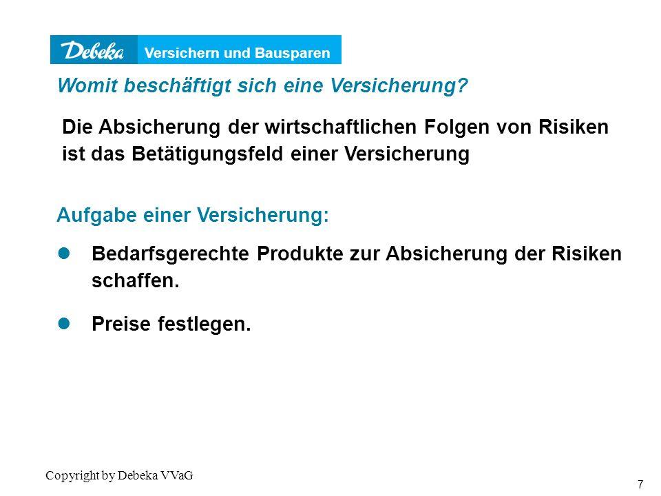 Versichern und Bausparen 18 Copyright by Debeka VVaG 0 2.000 4.000 6.000 8.000 10.000 12.000 14.000 20253035404550556065707580859095100105 Alter EUR 3.