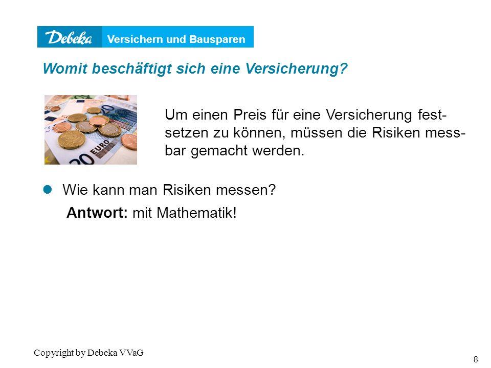 Versichern und Bausparen 39 Copyright by Debeka VVaG Beispiel Ein VU möchte 15.000 am 01.07.2008 in Aktien investieren.
