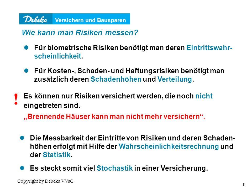 Versichern und Bausparen 20 Copyright by Debeka VVaG Risikomessung: Krankheit 1 Person je Alter