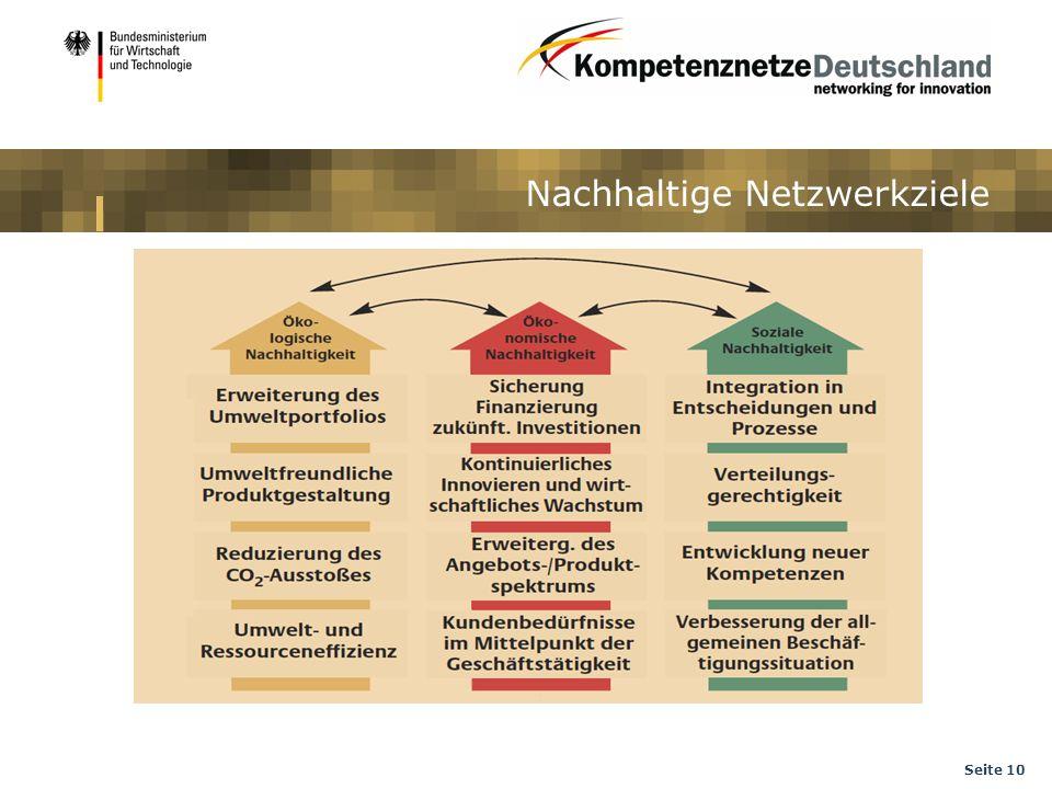 Seite 10 Nachhaltige Netzwerkziele