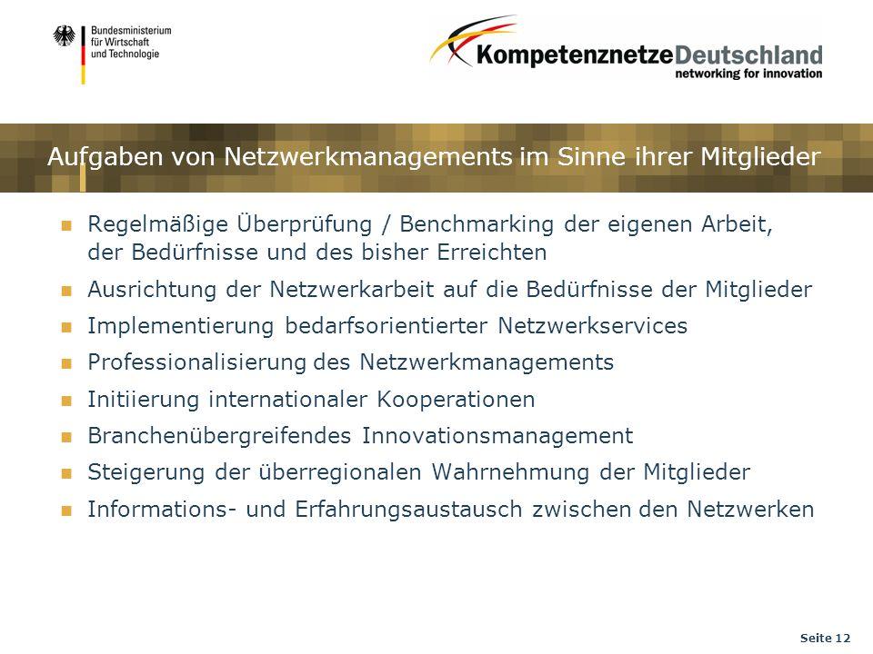 Seite 12 Aufgaben von Netzwerkmanagements im Sinne ihrer Mitglieder Regelmäßige Überprüfung / Benchmarking der eigenen Arbeit, der Bedürfnisse und des