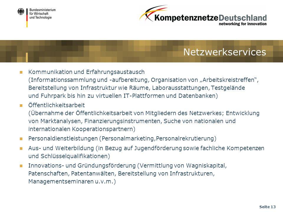 Seite 13 Netzwerkservices Kommunikation und Erfahrungsaustausch (Informationssammlung und -aufbereitung, Organisation von Arbeitskreistreffen, Bereits