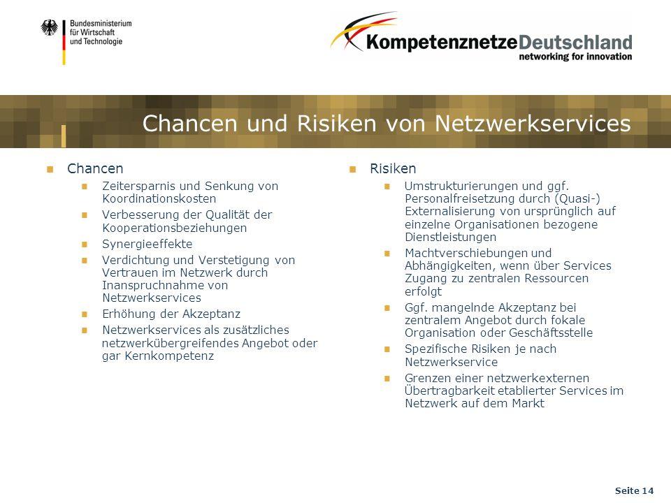 Seite 14 Chancen und Risiken von Netzwerkservices Chancen Zeitersparnis und Senkung von Koordinationskosten Verbesserung der Qualität der Kooperations