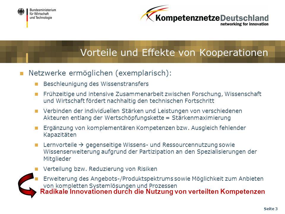 Seite 3 Vorteile und Effekte von Kooperationen Netzwerke ermöglichen (exemplarisch): Beschleunigung des Wissenstransfers Frühzeitige und intensive Zus