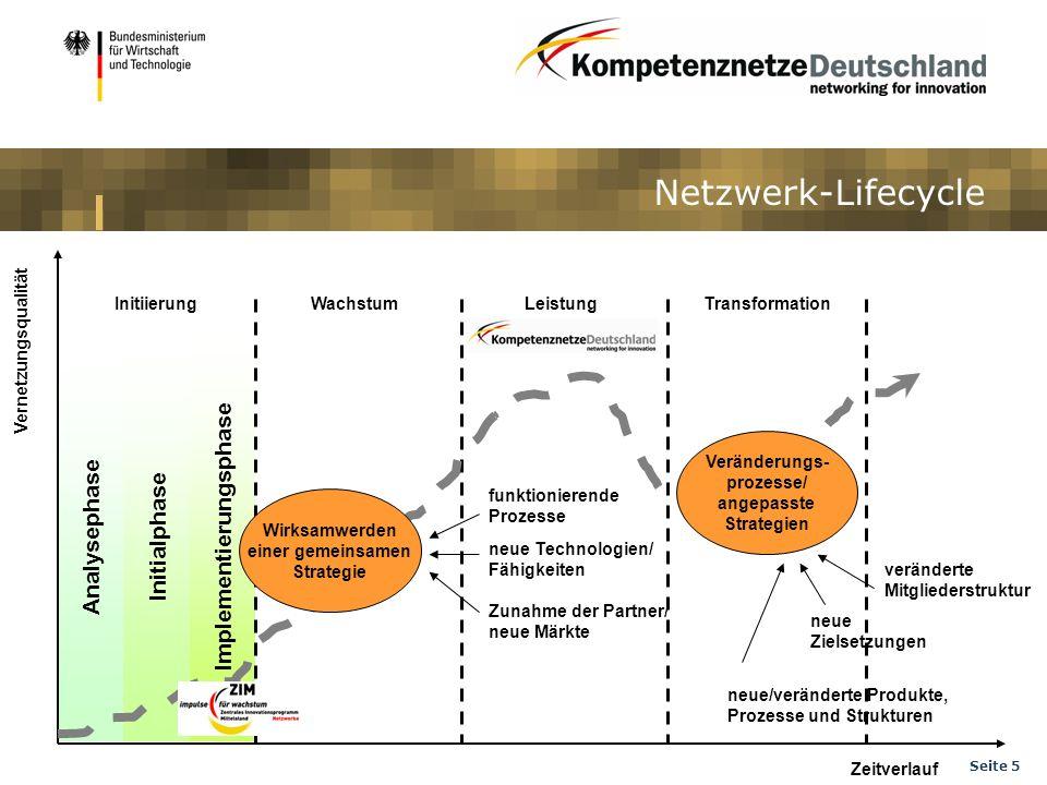 Seite 5 Netzwerk-Lifecycle Vernetzungsqualität Zeitverlauf InitiierungWachstumLeistungTransformation Analysephase Initialphase Implementierungsphase V