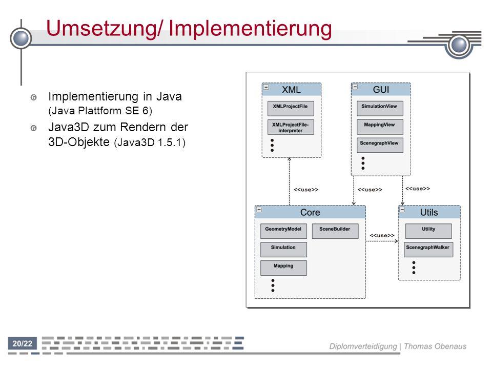 Umsetzung/ Implementierung ' Implementierung in Java (Java Plattform SE 6) ' Java3D zum Rendern der 3D-Objekte (Java3D 1.5.1)