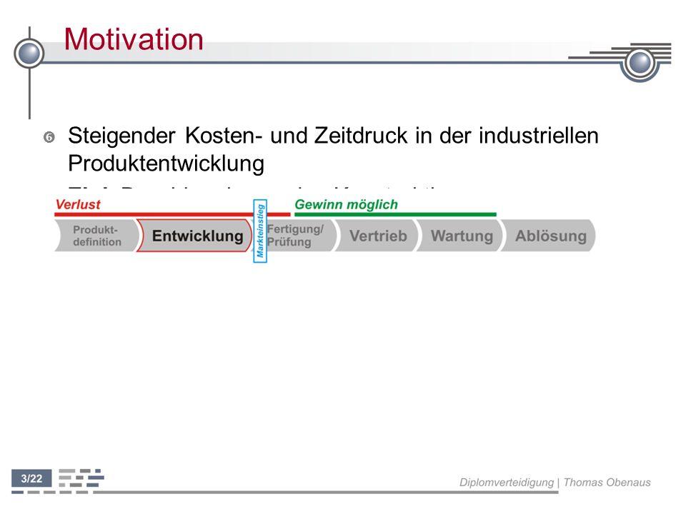 Motivation ' Steigender Kosten- und Zeitdruck in der industriellen Produktentwicklung ' Ziel: Beschleunigung des Konstruktionsprozesses