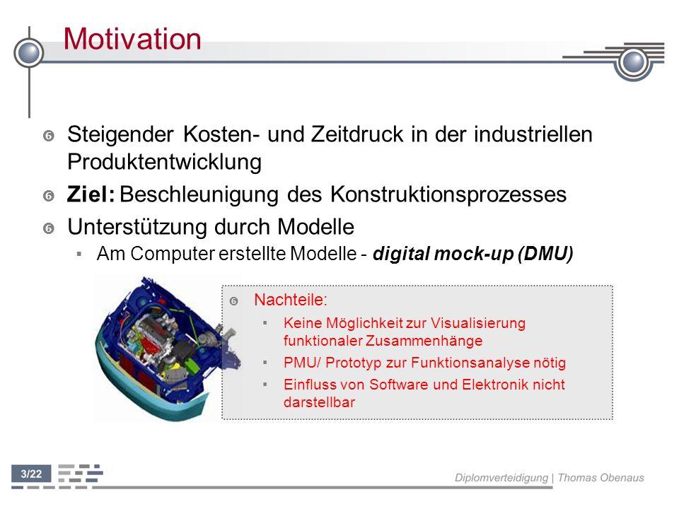Motivation ' Mechatronik: ' Mechatronik: mechanische Teile werden durch über Software geregelte Elektronik gesteuert ' Visualisierung dieser komplexen Zusammenhänge Beschleunigung des Konstruktionsprozesses