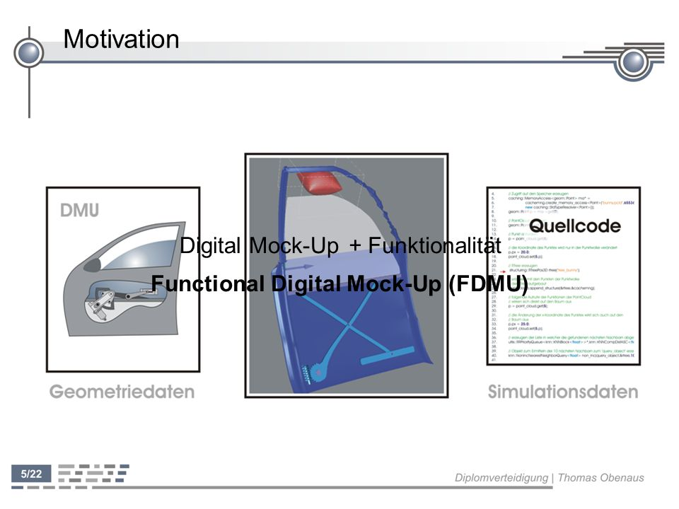 Konzeption - Mapping ' Keine Vorgaben für Bezeichnung von Simulations- und Geometriedaten beliebige Simulationsmodelle können ohne weitere Anpassungen verwendet werden ' Mapping flexibel muss vom Anwender erstellt werden ' Fachwissen nötig