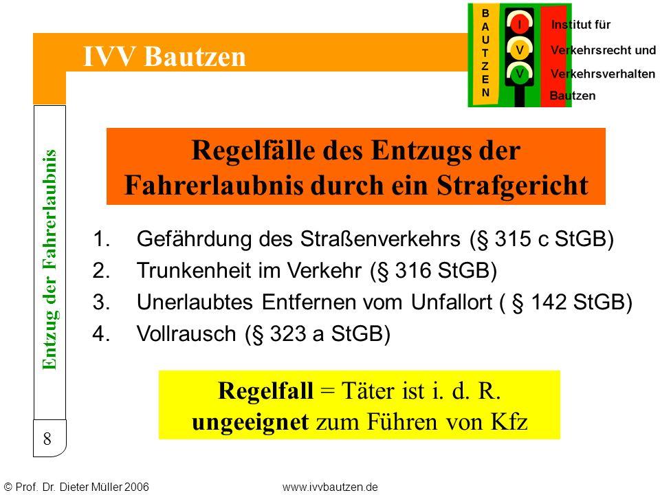 © Prof. Dr. Dieter Müller 2006www.ivvbautzen.de IVV Bautzen 8 Regelfälle des Entzugs der Fahrerlaubnis durch ein Strafgericht 1.Gefährdung des Straßen