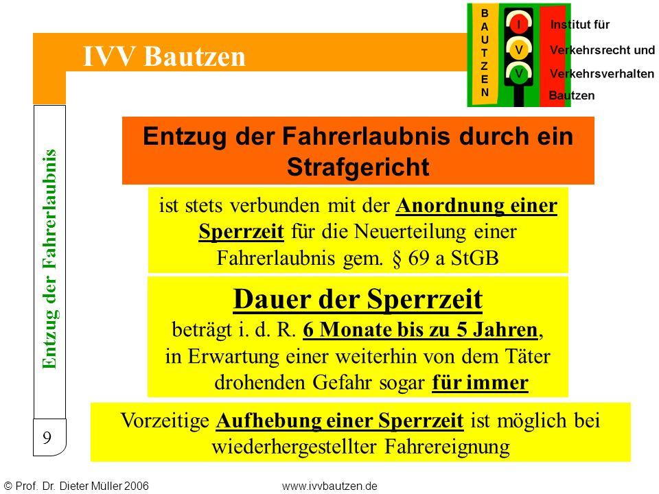 © Prof. Dr. Dieter Müller 2006www.ivvbautzen.de IVV Bautzen 9 Entzug der Fahrerlaubnis durch ein Strafgericht ist stets verbunden mit der Anordnung ei