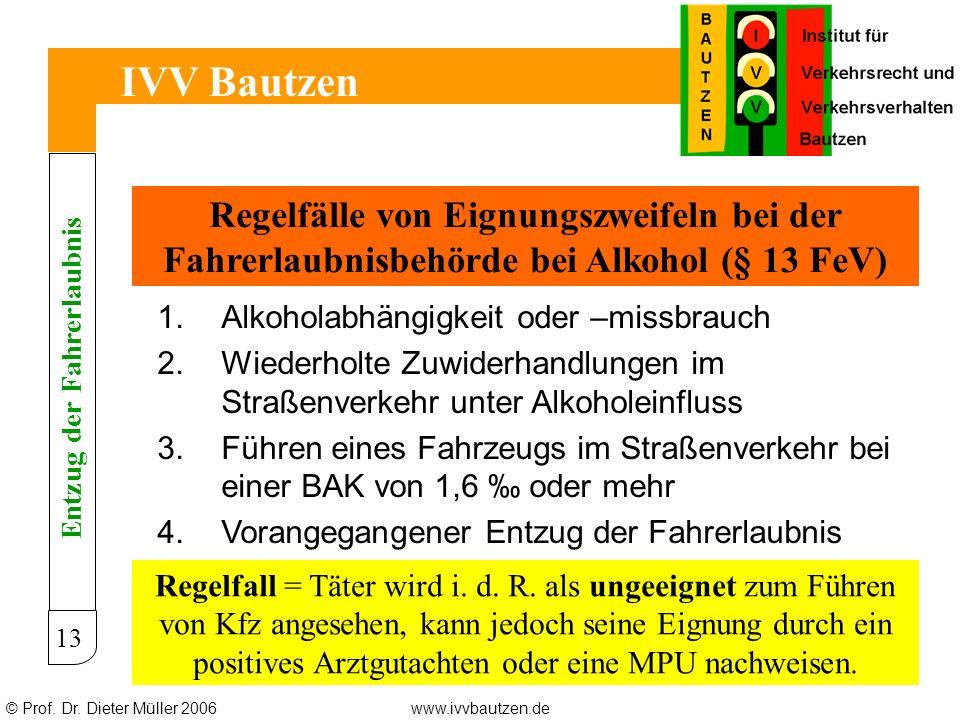 © Prof. Dr. Dieter Müller 2006www.ivvbautzen.de IVV Bautzen 13 Regelfälle von Eignungszweifeln bei der Fahrerlaubnisbehörde bei Alkohol (§ 13 FeV) 1.A