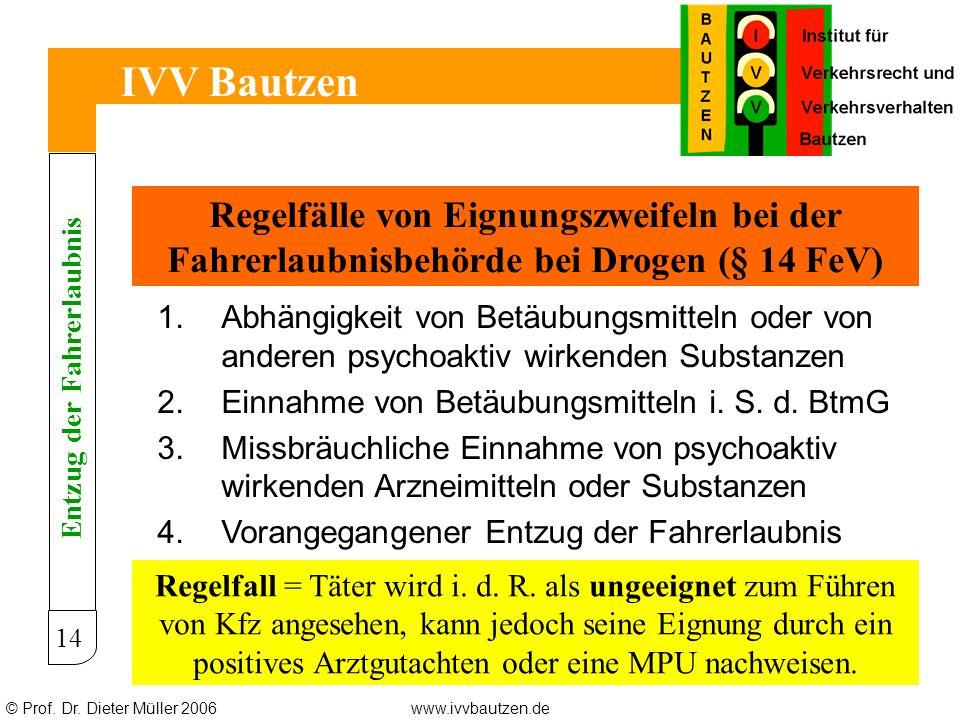 © Prof. Dr. Dieter Müller 2006www.ivvbautzen.de IVV Bautzen 14 Regelfälle von Eignungszweifeln bei der Fahrerlaubnisbehörde bei Drogen (§ 14 FeV) 1.Ab
