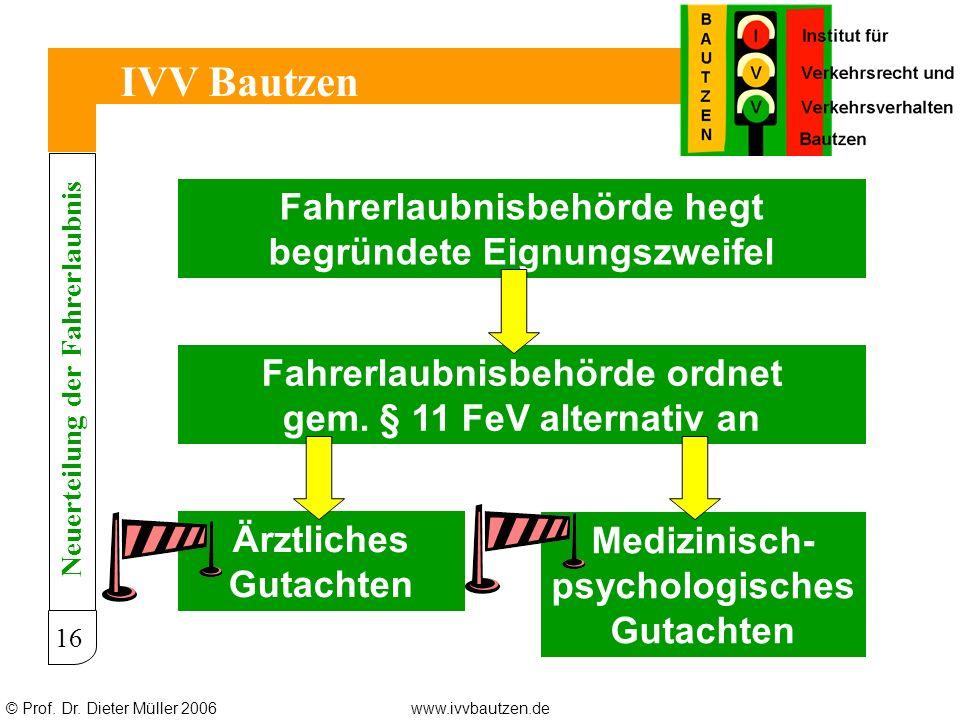 © Prof. Dr. Dieter Müller 2006www.ivvbautzen.de IVV Bautzen 16 Fahrerlaubnisbehörde hegt begründete Eignungszweifel Fahrerlaubnisbehörde ordnet gem. §