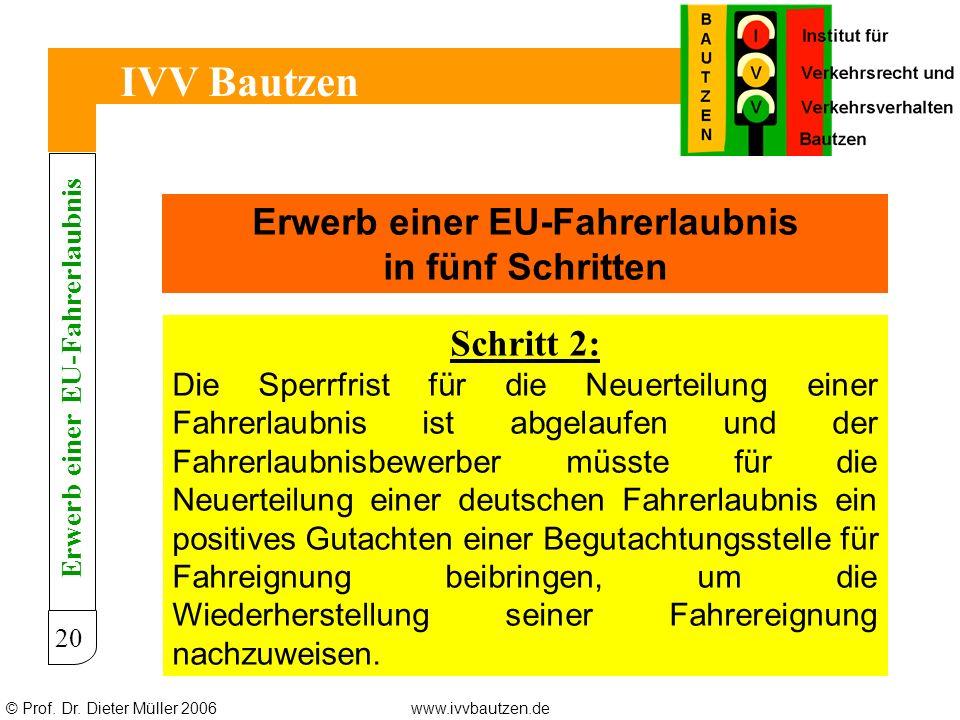 © Prof. Dr. Dieter Müller 2006www.ivvbautzen.de IVV Bautzen 20 Erwerb einer EU-Fahrerlaubnis in fünf Schritten Schritt 2: Die Sperrfrist für die Neuer
