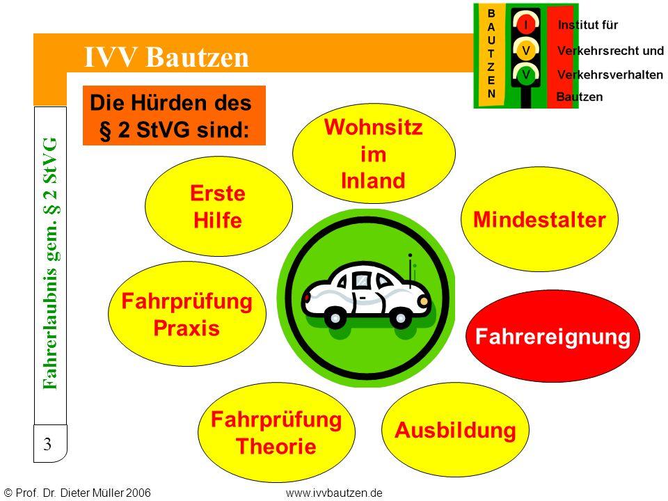 © Prof. Dr. Dieter Müller 2006www.ivvbautzen.de IVV Bautzen 3 Wohnsitz im Inland Mindestalter Fahrereignung Ausbildung Erste Hilfe Fahrprüfung Theorie