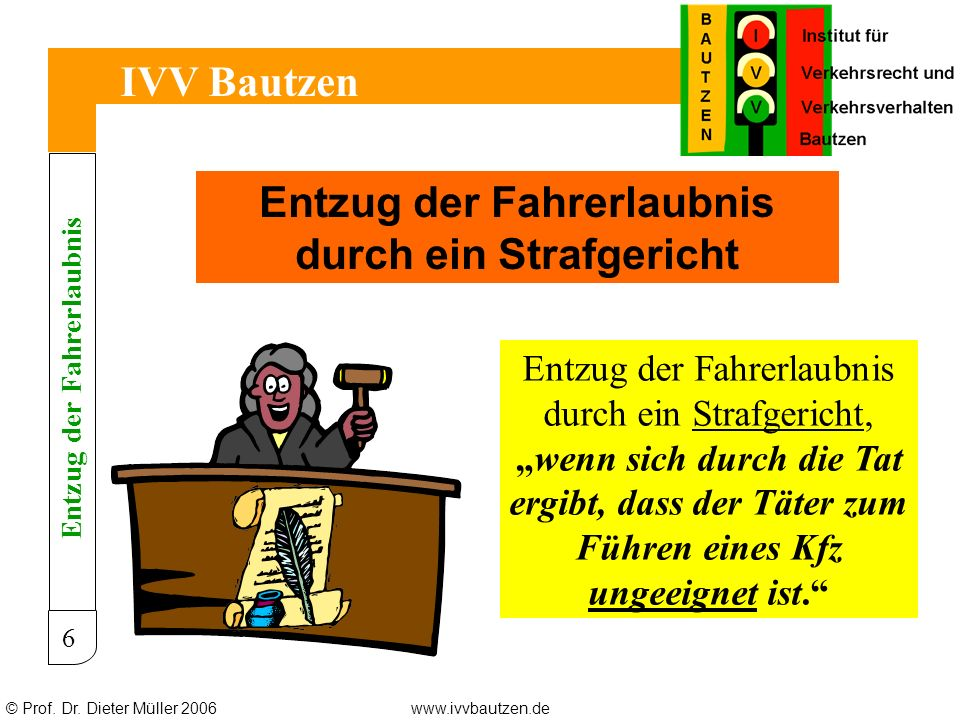 © Prof.Dr. Dieter Müller 2006www.ivvbautzen.de IVV Bautzen 27 Wie entschied der EuGH.