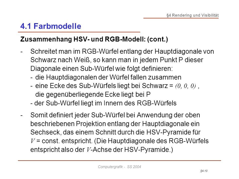 §4-10 §4 Rendering und Visibilität Computergrafik - SS 2004 4.1 Farbmodelle Zusammenhang HSV- und RGB-Modell: (cont.) - Schreitet man im RGB-Würfel en
