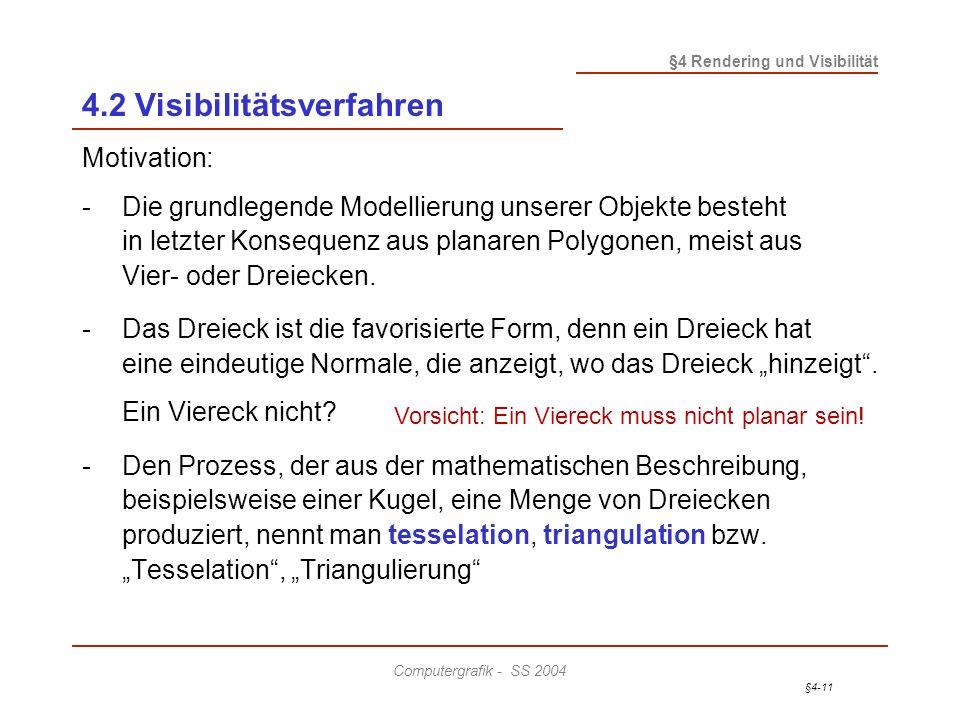 §4-11 §4 Rendering und Visibilität Computergrafik - SS 2004 4.2 Visibilitätsverfahren Motivation: -Die grundlegende Modellierung unserer Objekte beste