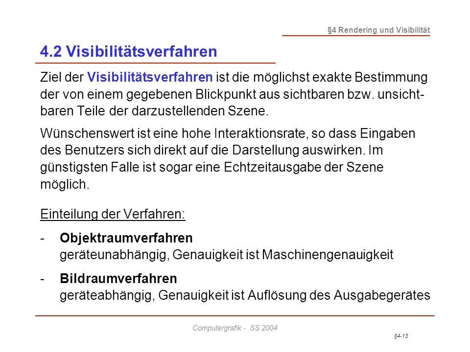 §4-13 §4 Rendering und Visibilität Computergrafik - SS 2004 4.2 Visibilitätsverfahren Ziel der Visibilitätsverfahren ist die möglichst exakte Bestimmu
