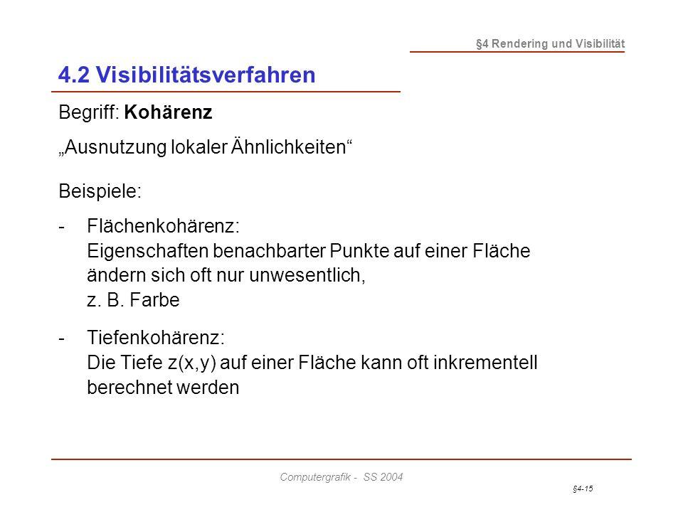 §4-15 §4 Rendering und Visibilität Computergrafik - SS 2004 4.2 Visibilitätsverfahren Begriff: Kohärenz Ausnutzung lokaler Ähnlichkeiten Beispiele: -F