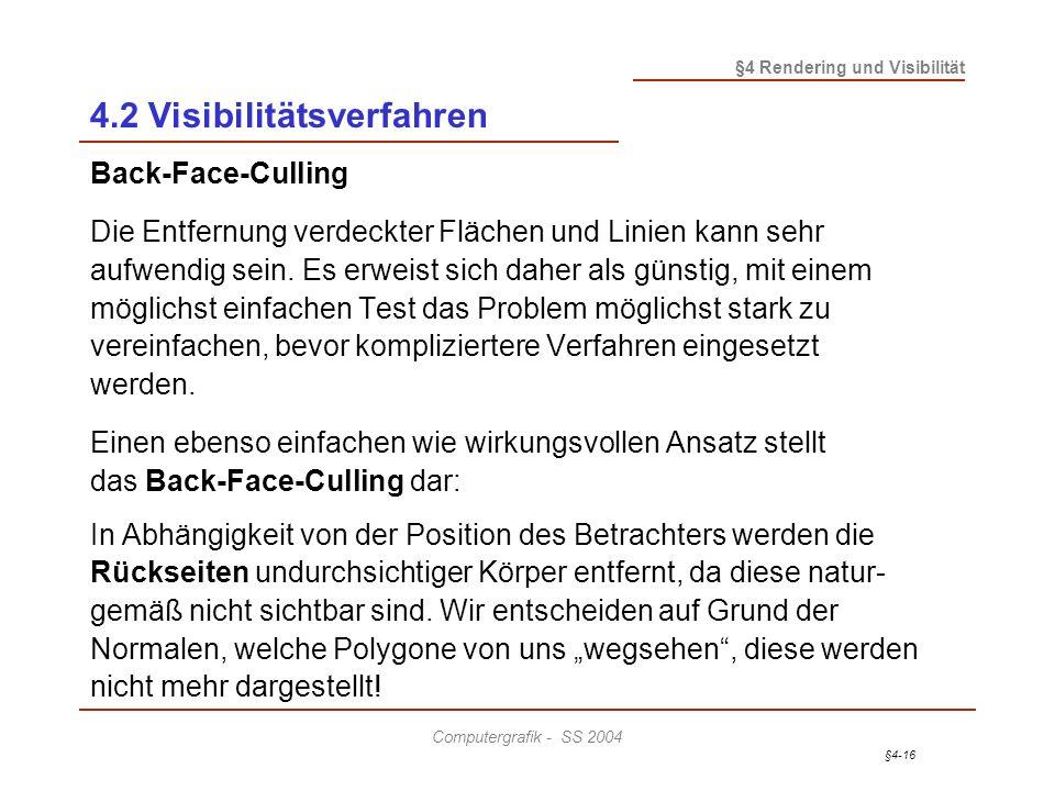 §4-16 §4 Rendering und Visibilität Computergrafik - SS 2004 4.2 Visibilitätsverfahren Back-Face-Culling Die Entfernung verdeckter Flächen und Linien k