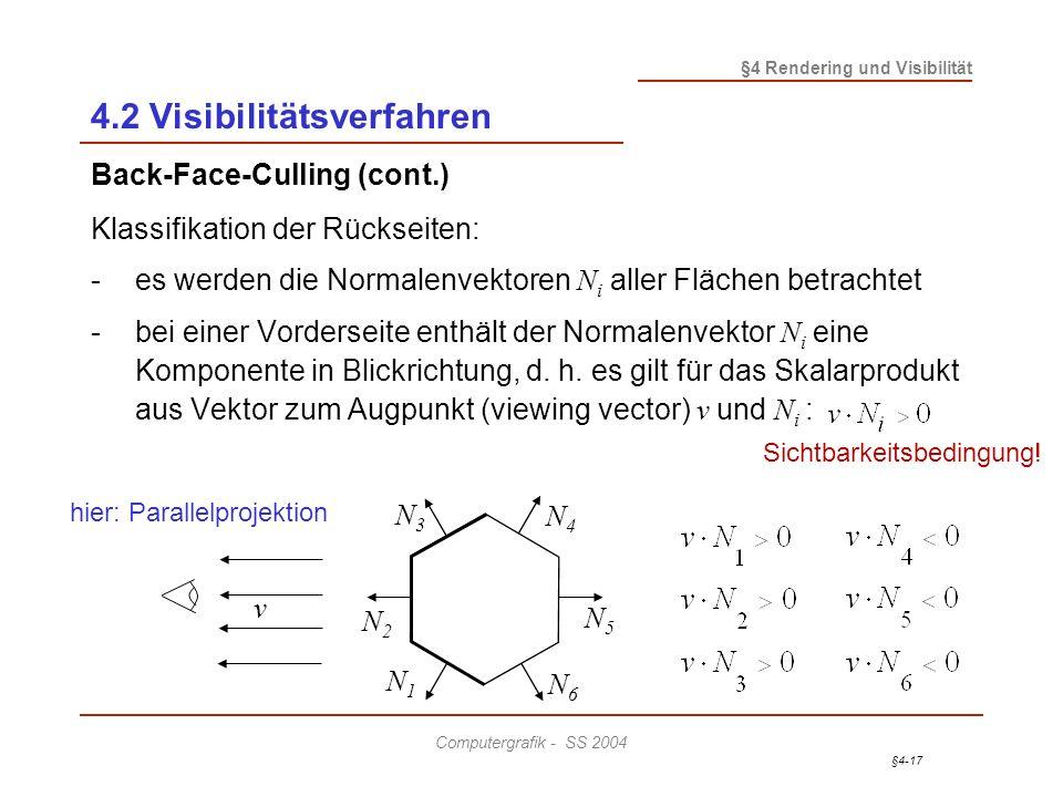 §4-17 §4 Rendering und Visibilität Computergrafik - SS 2004 4.2 Visibilitätsverfahren Back-Face-Culling (cont.) Klassifikation der Rückseiten: -es wer