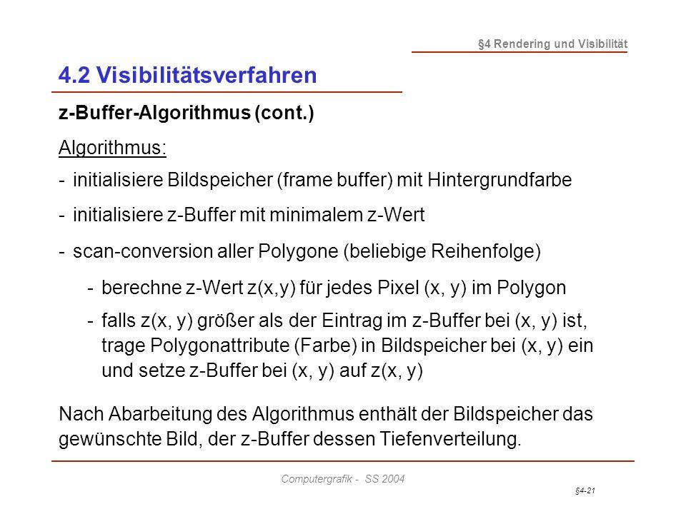 §4-21 §4 Rendering und Visibilität Computergrafik - SS 2004 4.2 Visibilitätsverfahren z-Buffer-Algorithmus (cont.) Algorithmus: -initialisiere Bildspe
