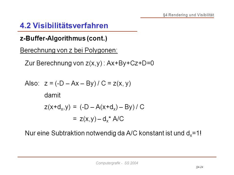 §4-24 §4 Rendering und Visibilität Computergrafik - SS 2004 z-Buffer-Algorithmus (cont.) Berechnung von z bei Polygonen: Zur Berechnung von z(x,y) : A