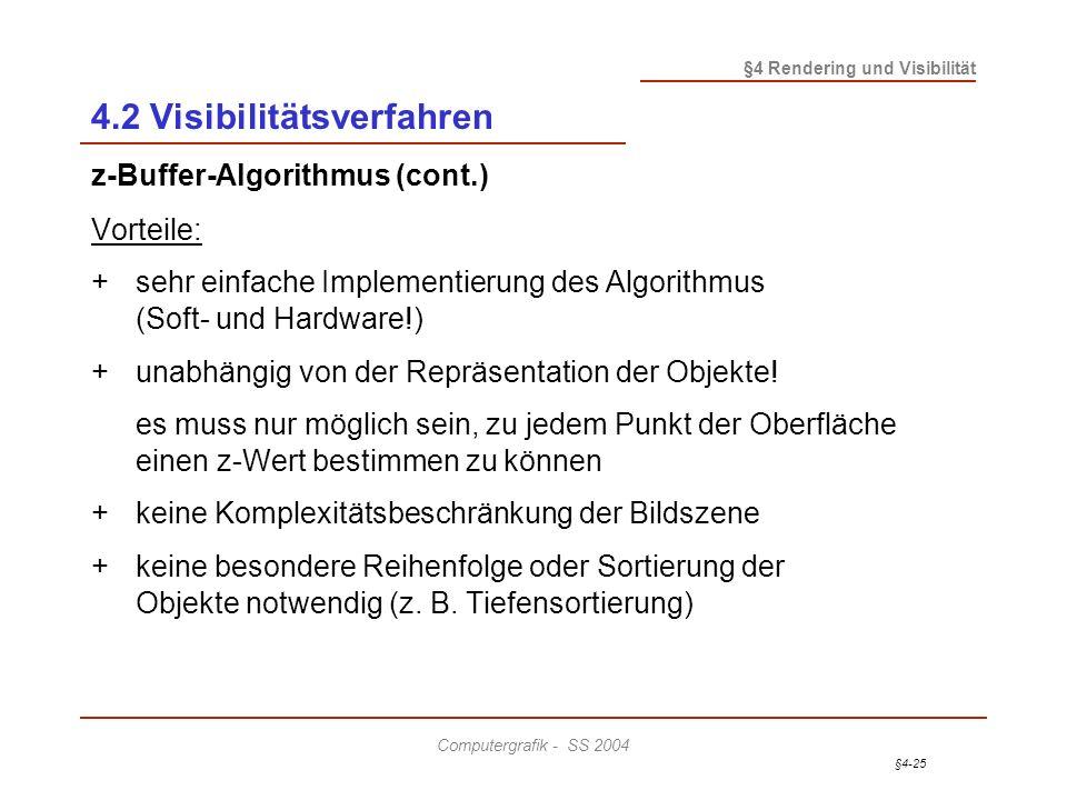 §4-25 §4 Rendering und Visibilität Computergrafik - SS 2004 4.2 Visibilitätsverfahren z-Buffer-Algorithmus (cont.) Vorteile: +sehr einfache Implementi