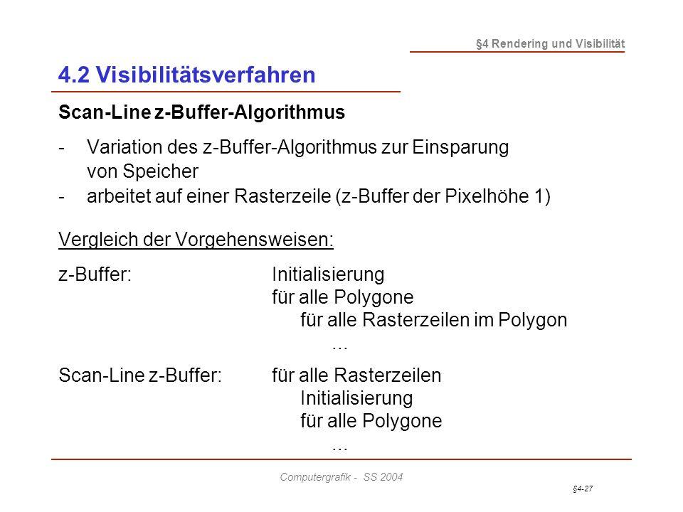 §4-27 §4 Rendering und Visibilität Computergrafik - SS 2004 4.2 Visibilitätsverfahren Scan-Line z-Buffer-Algorithmus - Variation des z-Buffer-Algorith