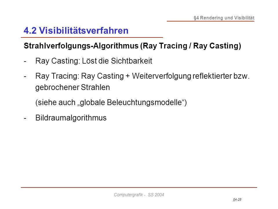 §4-28 §4 Rendering und Visibilität Computergrafik - SS 2004 4.2 Visibilitätsverfahren Strahlverfolgungs-Algorithmus (Ray Tracing / Ray Casting) - Ray
