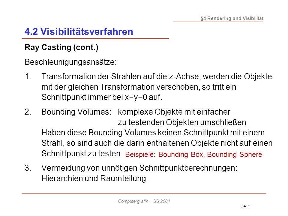 §4-32 §4 Rendering und Visibilität Computergrafik - SS 2004 4.2 Visibilitätsverfahren Ray Casting (cont.) Beschleunigungsansätze: 1.Transformation der