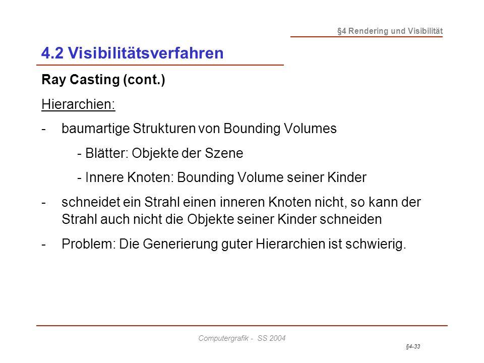 §4-33 §4 Rendering und Visibilität Computergrafik - SS 2004 4.2 Visibilitätsverfahren Ray Casting (cont.) Hierarchien: - baumartige Strukturen von Bou